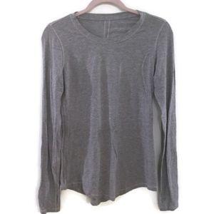 LULULEMON Gray long sleeve crew neck t-shirt